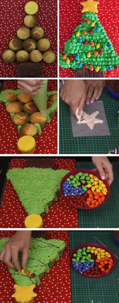 Christmas Tree Pull-Apart Cupcake Cake   DIY Christmas Baking Ideas for Kids Parties