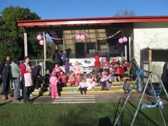 Little River Playcentre pinked out for their Breakfast! Pink Out, Little River, Fundraising, Your Photos, Ribbon, Breakfast, Outdoor Decor, Tape, Morning Coffee