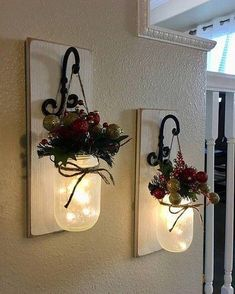 Christmas Wall Decoration, Rustic Christmas Decoration, Christmas Decorations, Christmas Decorations … - All For House İdeas Decoration Christmas, Farmhouse Christmas Decor, Christmas Centerpieces, Outdoor Christmas, Decorating For Christmas, Diy Xmas Decorations, Christmas Decorations For The Home Living Rooms, Christmas Dinner Party Decorations, Decoration Crafts