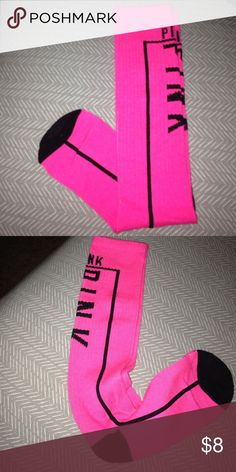 Victorias Secret PINK knee high socks Brand new without tags. One size fits most. PINK Victoria's Secret Accessories Hosiery & Socks