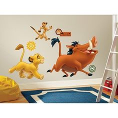 @Overstock - Bring the magic of Disney's The Lion King into any room with these giant wall decals of Simba, Timon, and Pumbaa. The decals in this set are suitable for any flat surface, and are completely removable and repositionable.http://www.overstock.com/Baby/The-Lion-King-Peel-Stick-Giant-Wall-Decals/7665072/product.html?CID=214117 $17.99