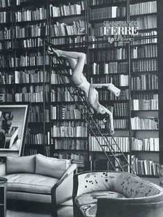 Not your mother's library ladder       Gianfranco Ferré, Fall/Winter 1992Model: Linda Evangelista   ...for the record, this is my preferred reading repose as well.