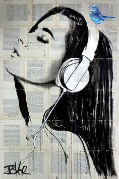 """big audio"" Posters by Loui Jover Newspaper Painting, Newspaper Art, Art Sketches, Art Drawings, Collage Kunst, Arte Pop, Drawing People, Portrait Art, Face Art"