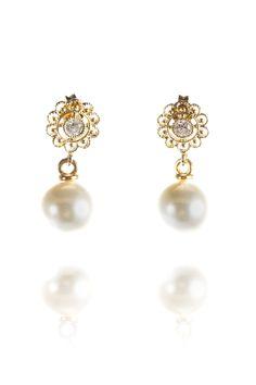 Perlenohrringe *Mitzi* mit runder Perle, gold
