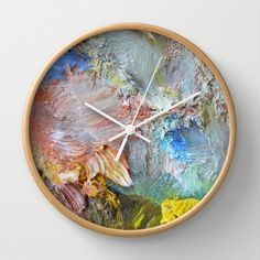 Wall Clock, Impasto, brushstrokes, abstract photography, oil paints, apricot, grey, yellow, blue, pink, painting, painterly, palette, Greece by aeolia on Etsy https://www.etsy.com/uk/listing/178456148/wall-clock-impasto-brushstrokes-abstract