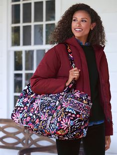 Iconic Large Travel Duffel in Foxwood Duffel Bag, Walk On, Travel Bags, Vera Bradley, Style Icons, Shoulder Bag, Boutique, Cotton, Fashion Tips