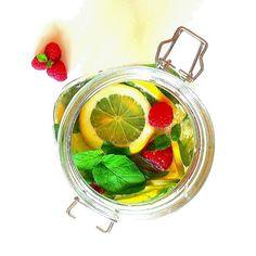 Citrus and raspberry and mint lemonade / Cytrusowo-malinowo-miętowa lemoniada