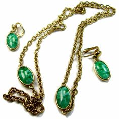 Marbled Glass Necklace Earrings Set Signed Emmons Bezel Set Green Grass by EclecticVintager on Etsy