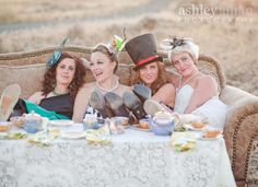 Mad Hatter inspired tea party. My daughter, Natalie, third from left. Mad Hatter!