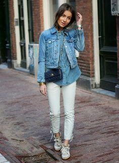 Always felt weird about wearing a denim top with a denim jacket but this looks cool and not farmer-like. Maybe with colored denim on the bottom...