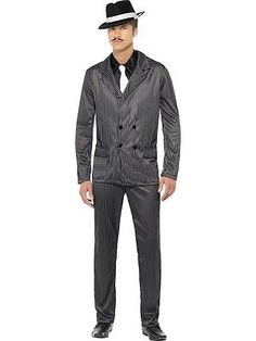 M/l gangster costume pinstripe suit + #white tie 20s 70s mens #fancy dress #outfi,  View more on the LINK: 	http://www.zeppy.io/product/gb/2/361521645006/