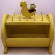 Vintage Yellow Hand Crafted Wood Sewing Box
