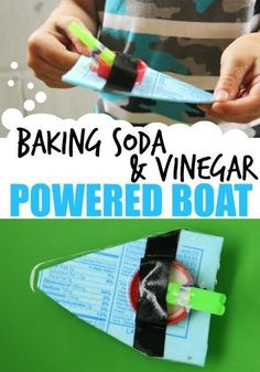 Baking Soda Vinegar Powered Boat STEM Baking soda and vinegar react in this movement and power STEM activity to power a boat made with recycled materials. This is a fun outdoor STEM science experiment for kids. Cub Scout Activities, Steam Activities, Science Activities For Kids, Stem Science, Science Fair Projects, Science Experiments Kids, Teaching Science, Sensory Activities, Sensory Play