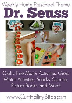 Dr. Seuss themed weekly home preschool.  Crafts, fine motor activities, gross motor activities, snacks, science, picture books, learning games, and more!  One week of activities for easy homeschool pre-k.
