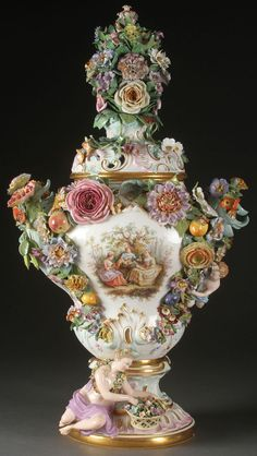 Meissen Porcelain Covered Urn, 19th Century.