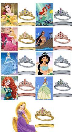 Women's Spl 925 Silver Round Multi-Color CZ Disney Princess Crown Wedding Ring #aonebianco #DisneyEngagementRing