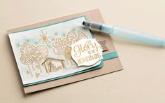 Gold embossing and a touch of watercolor are the perfect techniques to pair with The Newborn King stamp set.