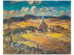 size: Stretched Canvas Print: Saint-Hilarion Canvas Art by Arthur Lismer : Using advanced technology, we print the image directly onto canvas, stretch it onto support bars, and finish it with hand-painted edges and a protective coating. Group Of Seven Art, Group Of Seven Paintings, Tom Thomson, Emily Carr, Canadian Painters, Canadian Artists, English Artists, Jackson, Wow Art