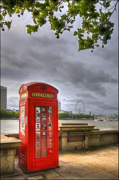 Red Telephone Box with London Eye and Southbank in the background