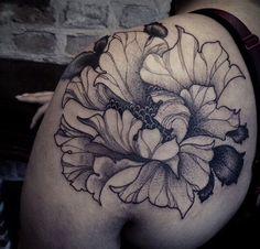 Flower tattoo black and grey
