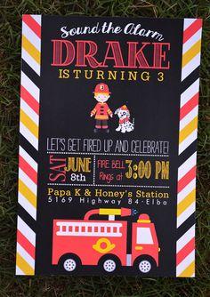 Firetruck, Fireman Boys Birthday Party Invitations on Etsy, $1.50