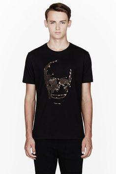 Zara Mens Sequin Skull T Shirt