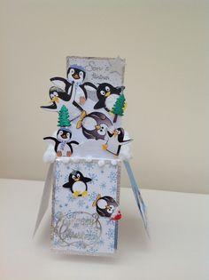 Pop up box card Pop Up Christmas Cards, Homemade Christmas Cards, Xmas Cards, Homemade Cards, Pop Up Box Cards, 3d Cards, Cool Cards, Card Boxes, Easel Cards