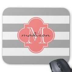 Gray and Coral Nautical Stripes Custom Monogram Mouse Pad