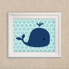 Whale Print - Whale Nursery Art Prints - Large 16x20 Inch Navy Blue and Turquoise Whale Art Print on Etsy, $38.00