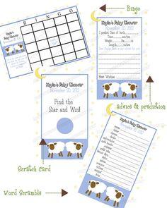 Blue Sheep/Lamb Star and Moon Any border fonts by CreatinVitations, $30.00