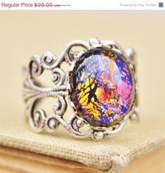 SALE Vintage Black Fire Opal RingSilver Opal by hangingbyathread1, $18.00