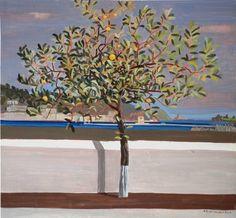 Κώστας Παπανικολάου, από την έκθεση, με τίτλο «από την Καισαριανή στον Πόρο». Painter Artist, Artist Art, Greek Art, New Art, Contemporary Art, Painters, Plants, Trees, Artists