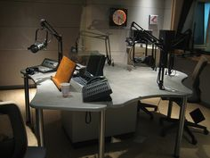 KQED radio studio, broadcasting in Northern California. Nice little place to do a show, nice lighting. The mood's up here, I'd say.