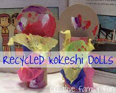 Recycled Kokeshi Dolls- Japan Crafts To Do, Crafts For Kids, Doll Japan, Japanese Symbol, Kids Around The World, World Crafts, Thinking Day, Kokeshi Dolls, Japan Art