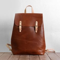 Cuir pleine fleur Vintage brun sac à dos femme, sac en cuir minimaliste, sac à…
