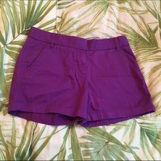 """J. Crew 5"""" Chino Shorts Purple Basic chino shorts very flattering fit. Size 6, nice 5"""" inseam. Bright purple looks great for summer! I think I wore them once maybe. I love them but they are too tight :( J. Crew Shorts"""