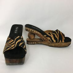 Womens Wooden Sandals Size 7 Animal Print Carved Sole Ball in Heel Cha Cha  #ChaCha #PlatformsWedges #Casual