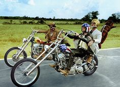 Easy Rider ... Dennis Hopper, Peter Fonda & Jack Nicholson on Harley-Davidsons in film classic