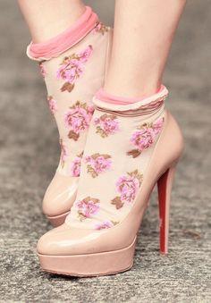Cute floral socks and nude Louboutin Socks And Heels, Ankle Socks, Sheer Socks, Sock Shoes, Shoe Boots, Stiletto Heels, High Heels, Nude Heels, Floral Socks