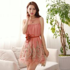 sleeveless knee-length mesh patchwork embroidery lace dress plus size women loose dress new fashion 2014 summer dresses $25.99