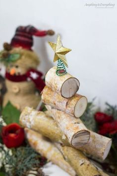 rustic birch wood holiday tree, christmas decorations, seasonal holiday decor, woodworking projects