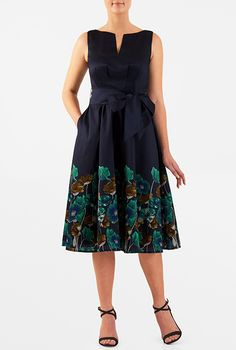 three-quarter sleeve or cap sleve-- maybe try a square neck.   Washed floral print dupioni dress from eShakti