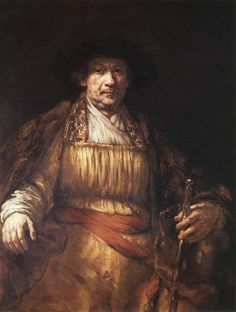 the upper portion of his left arm is too long. it's in darkness and so not very noticeable. Still a masterpiece, especially the study of his own face. Rembrandt's Self-Portrait of 1658 (Frick Collection)