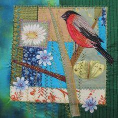 'Bullfinch' By Textile Artist Rachel Sumner. Blank Art Cards By Green Pebble. www.greenpebble.co.uk