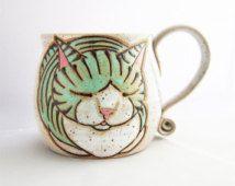 Cat Mug, pottery mug, valentines gift, cat loaf mug, cat art , holds approx 13…