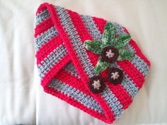 Ohio State Buckeyes Crocheted Infinity Scarf / Cowl - scarlet and gray stripes with buckeyes and buckeye leaf