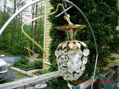 Vintage Chandelier Prisms Ceiling Light Fixture  by thebedpost02, $50.00
