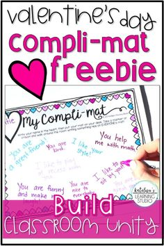 Valentines Day compli-mat free activity to build classroom unity. Perfect for Valentines Day party activities.