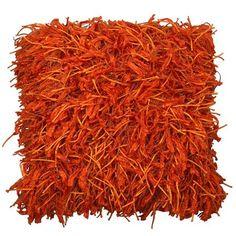 Orange Shaggy Cushion   ACHICA