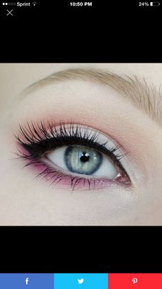 Pink lower lash line.